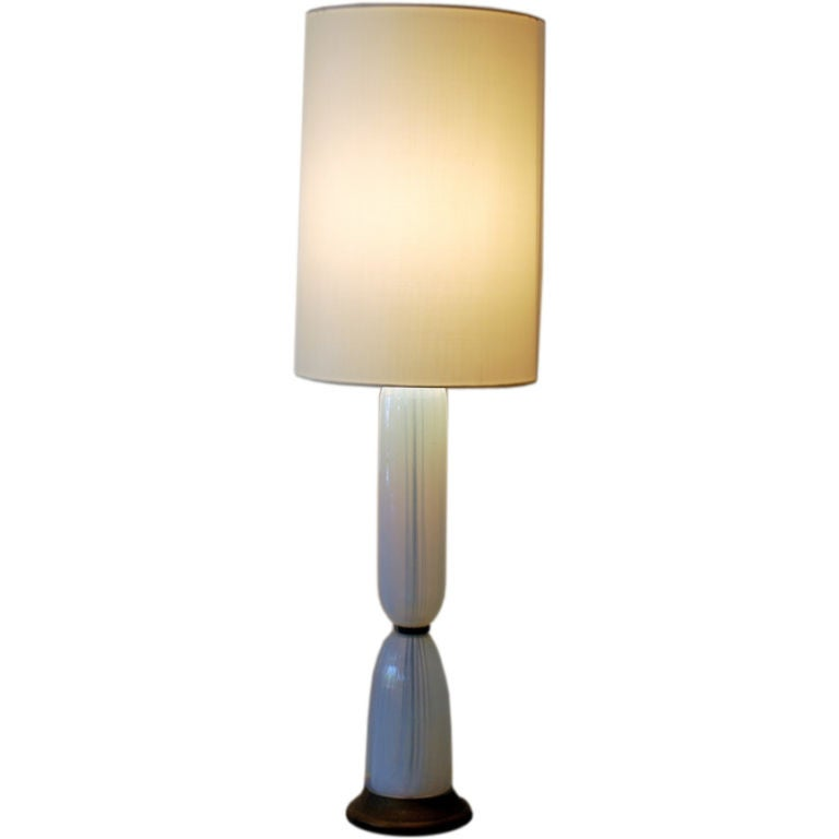 tall white opaline glass murano lamp at 1stdibs. Black Bedroom Furniture Sets. Home Design Ideas
