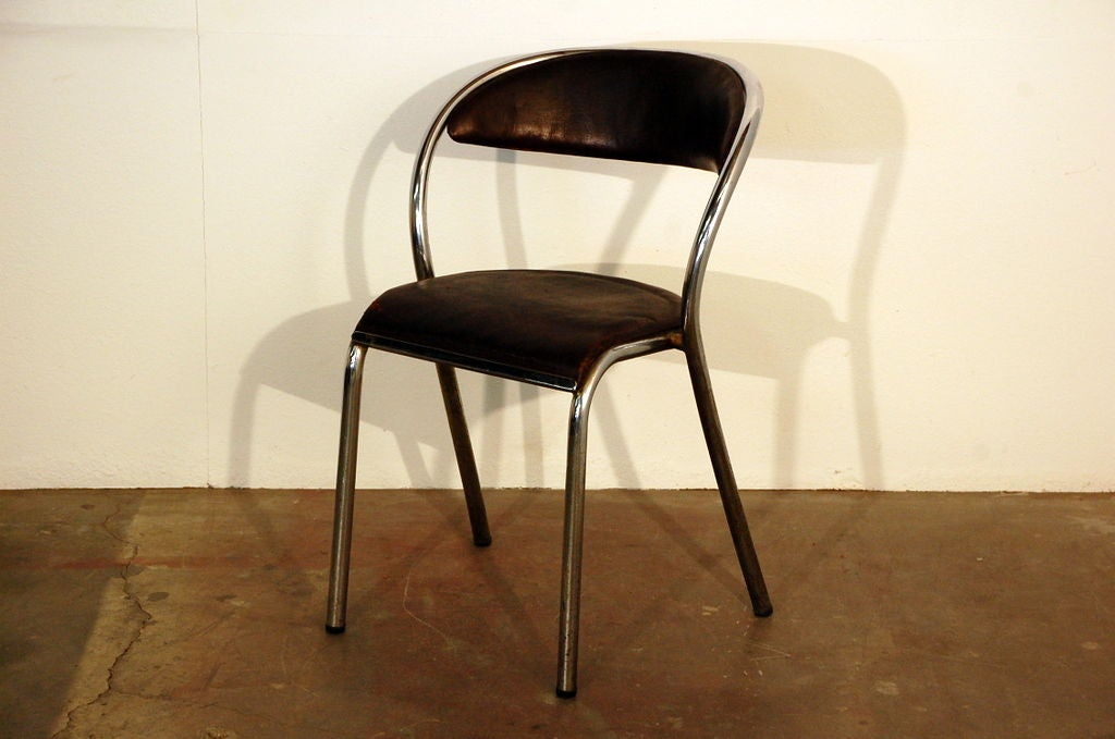 set of comfortable french industrial dining chairs at 1stdibs