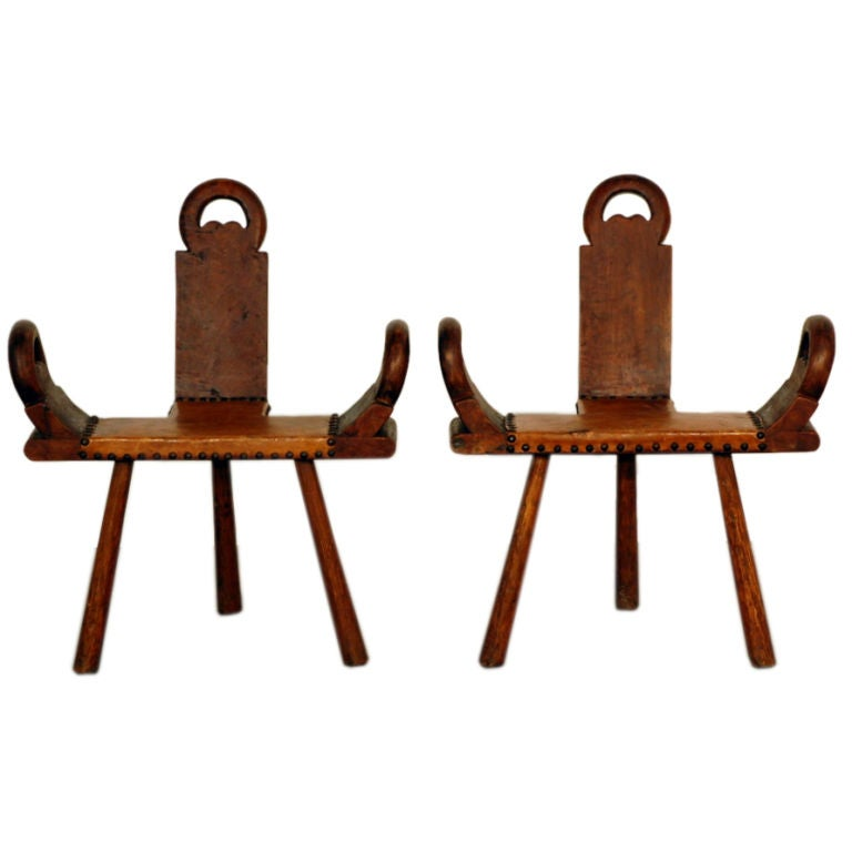 Pair Of Sculptural Wood And Leather Stools At 1stdibs
