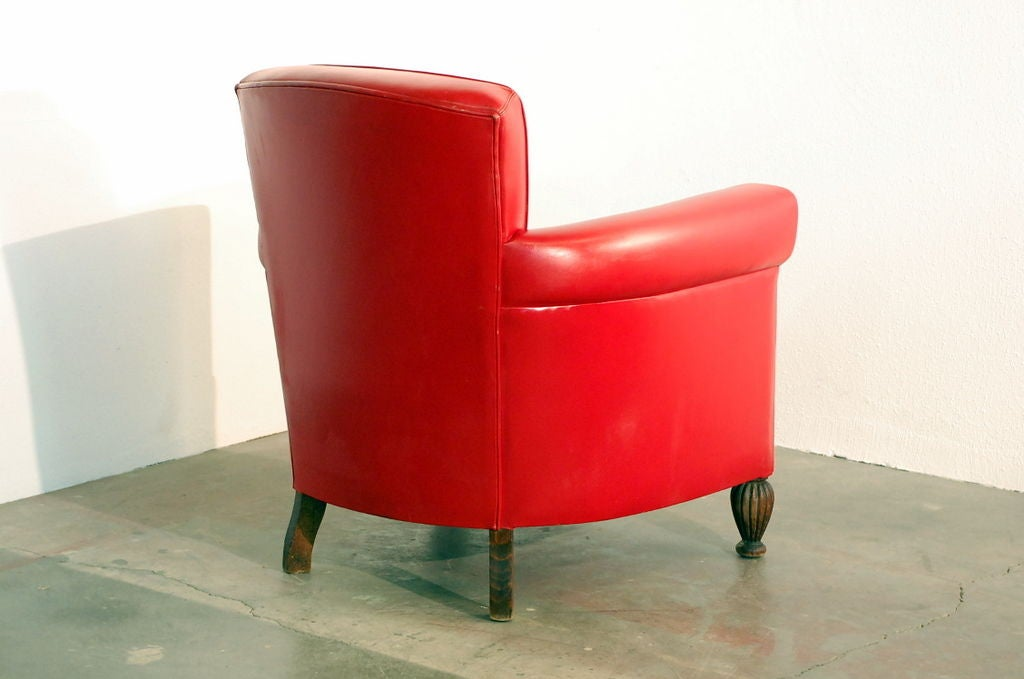Comfortable French 40 39 S Red Leather Club Chair At 1stdibs