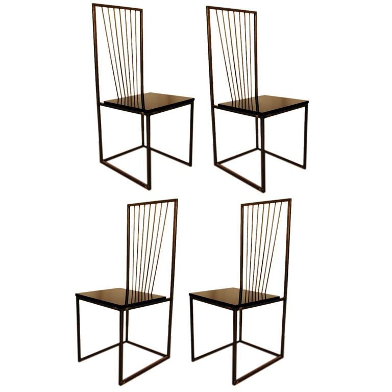 Set Of 4 Minimalistic Black Lacquer Dining Chairs At 1stdibs