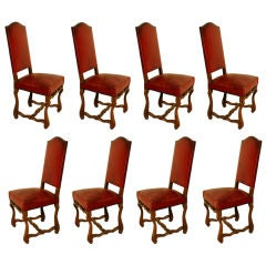 Set of 8 large aged red leather French chateau dining chairs