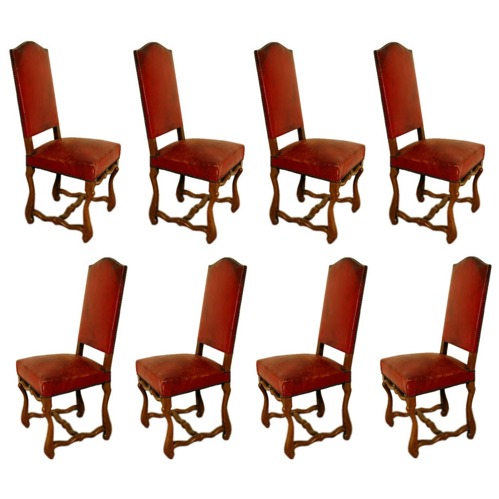 Set Of 8 Large Aged Red Leather French Chateau Dining