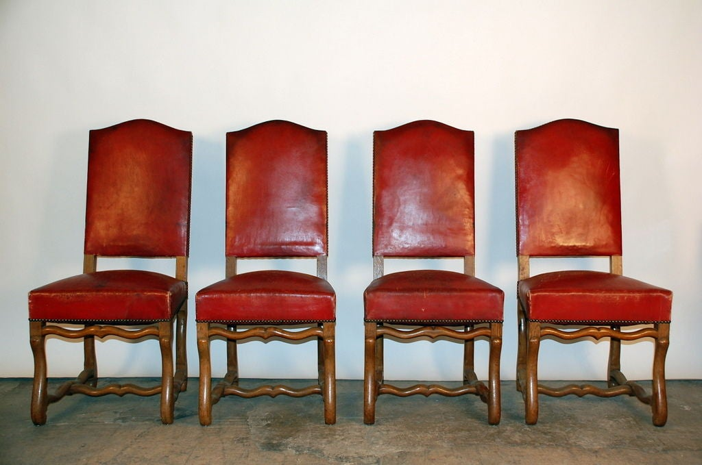 set of 8 large aged red leather french chateau dining chairs image 2
