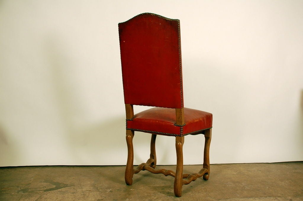 set of 8 large aged red leather french chateau dining chairs image 5