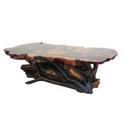 BURLED REDWOOD COFFEE TABLE