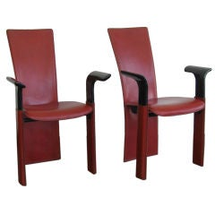 PAIR OF LEATHER OCCASIONAL ARMCHAIRS BY PIETRO COSTANTINI