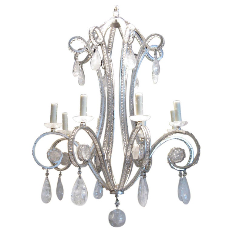 Silverleaf Iron And Rock Crystal Chandelier At 1stdibs