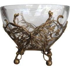 ART NOUVEAU BRONZE AND GLASS ORMOLU BOWL