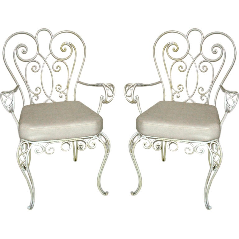 Pair of french iron garden chairs at 1stdibs French metal garden furniture