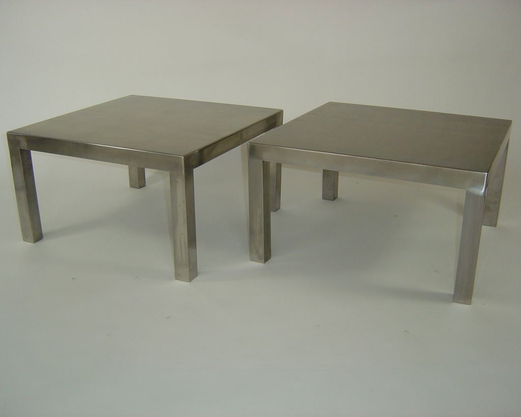 Pair Of Maria Pergay Stainless Steel Coffee Or Side Tables