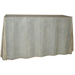 Skirted Galvanized Steel Console Table in the Style of Dickinson
