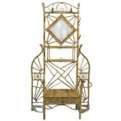 English 19th Century Bamboo Hall Stand With Mirror