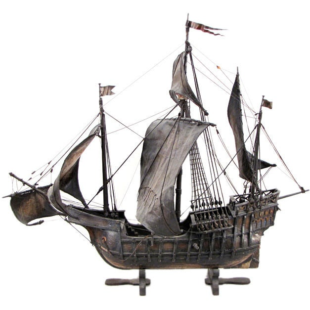 Painted Wood and Leather Scale Model Ship of the Santa Maria