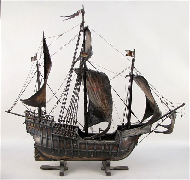 Painted Wood and Leather Scale Model Ship of the Santa Maria image 2