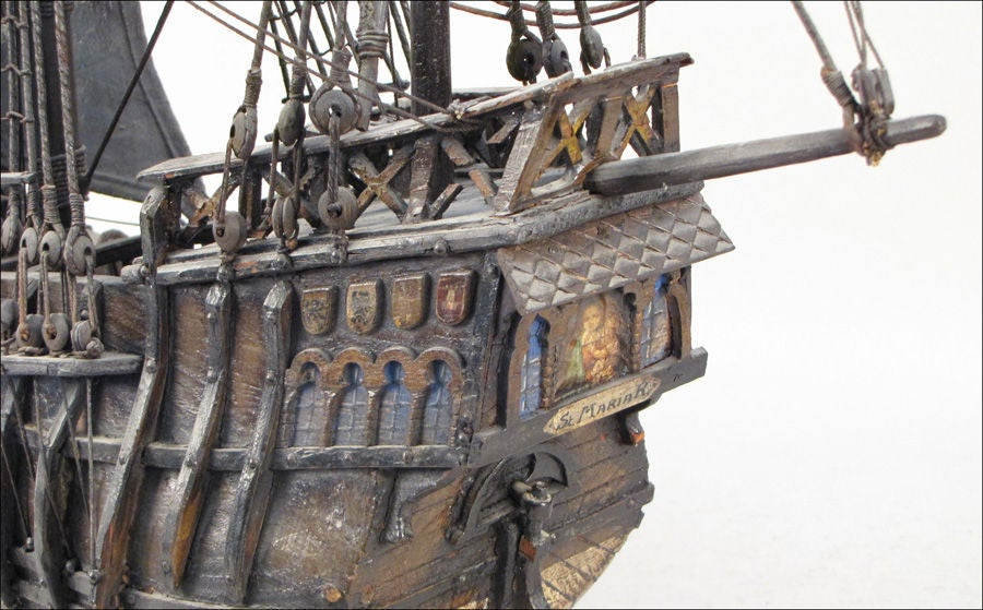 Painted Wood and Leather Scale Model Ship of the Santa Maria image 3