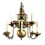 19th Century Dutch Baroque Brass Twelve-Lite Chandelier.