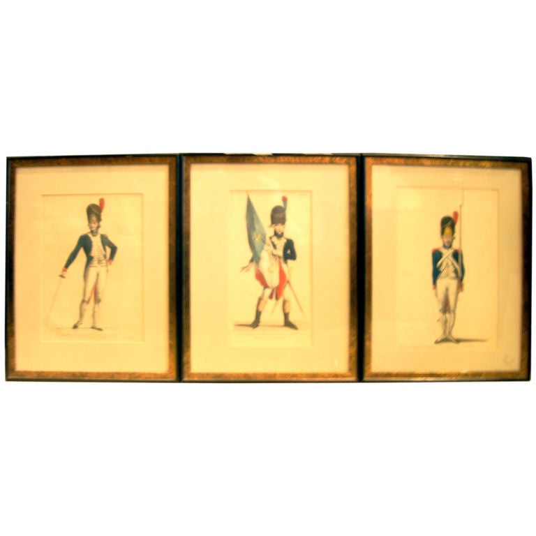 SET OF THREE 19TH CENTURY HAND COLORED ENGRAVINGS