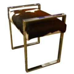 Milo Baughman chrome bench with cow hide upholstery