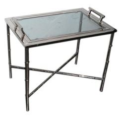 Nickel small coffee table with faux bamboo base, removable tray