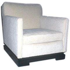 1940s Club Chair with Greek Key Base