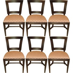 Set of Six 1940s Dining Side Chairs with Cut-Out Design in Back