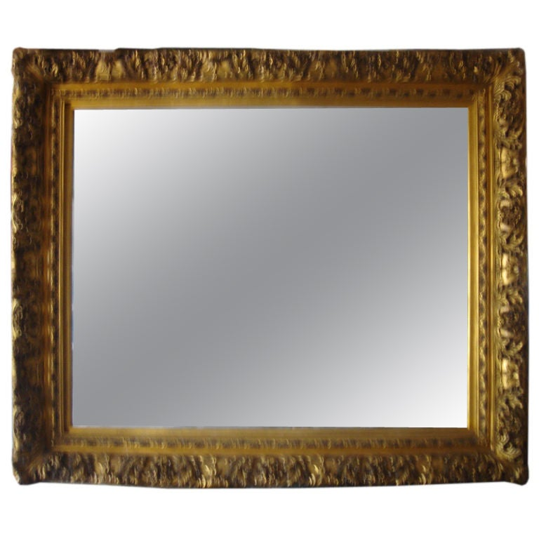 Extra Large Beveled Gold Leaf Mirror At 1stdibs