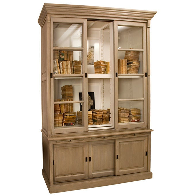 Painted Large Bookcase With Sliding Doors At 1stdibs