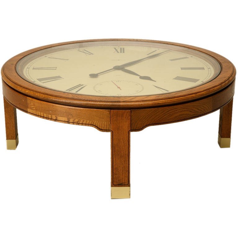 Vintage american oak clock coffee table by howard miller at 1stdibs Coffee table with clock