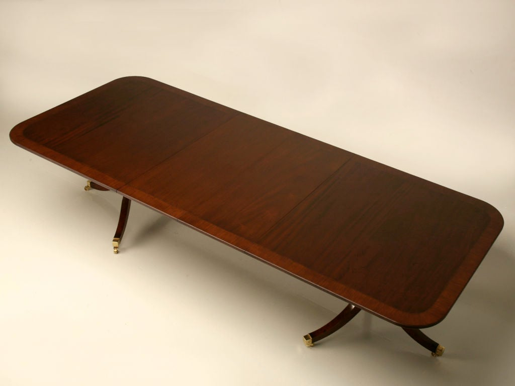 English Solid Mahogany Double Pedestal Dining Table At 1stdibs