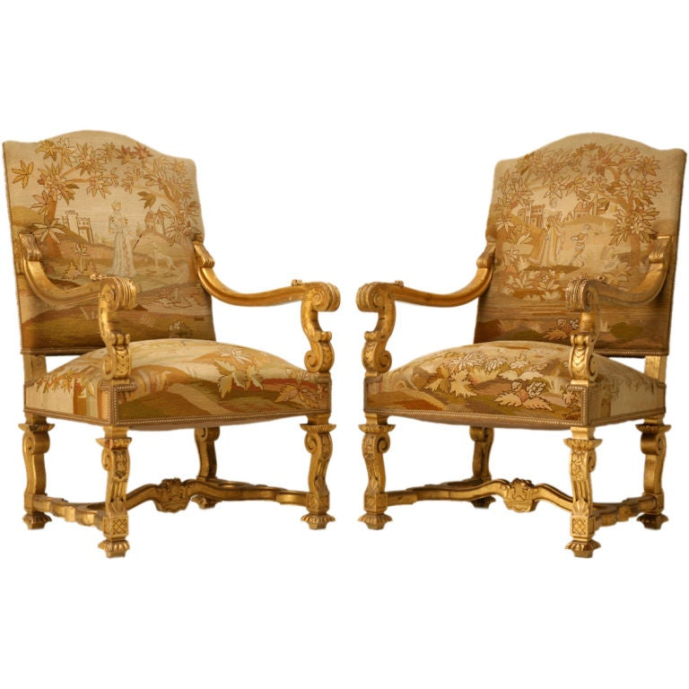 C1880 Original French Gilt Louis XIV Style Throne Chairs