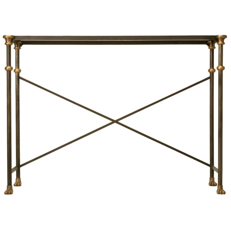 Console Table in Stainless and Bronze For Sale