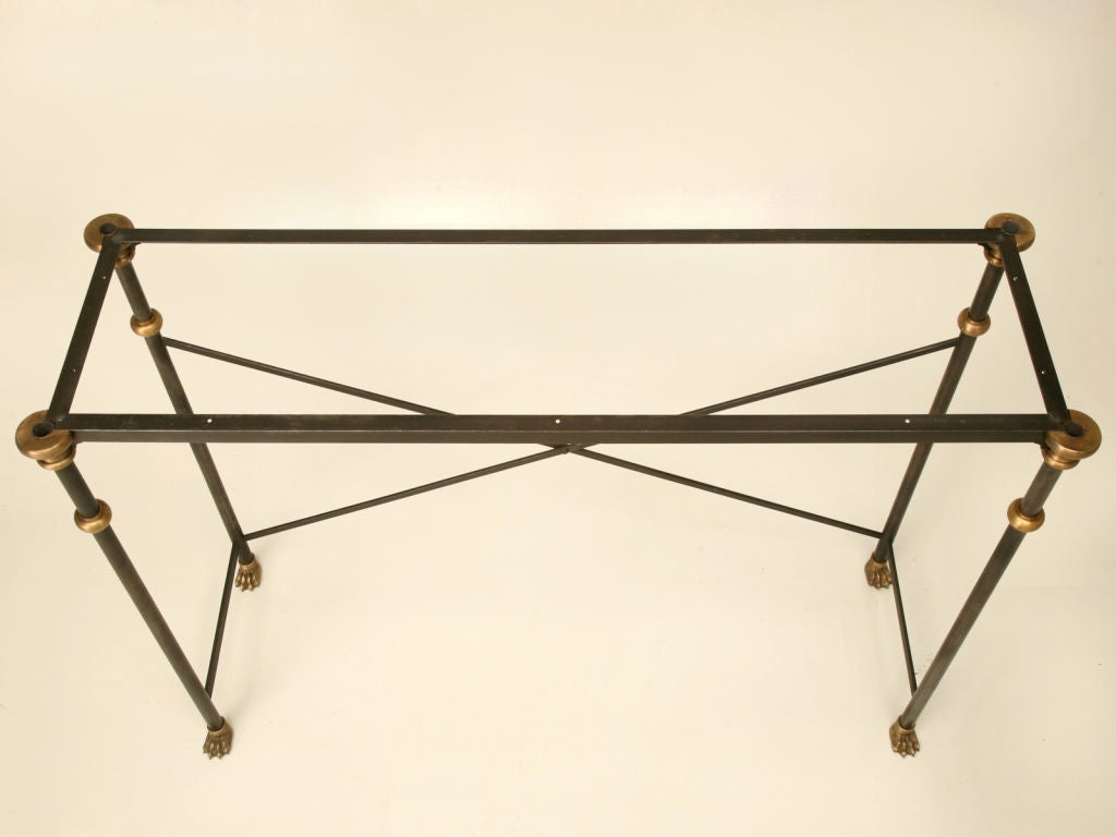 Industrial Console Table in Stainless and Bronze For Sale