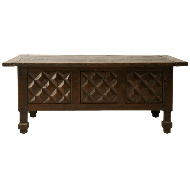 Hand carved oak and chestnut coffee table at 1stdibs Hand carved coffee table