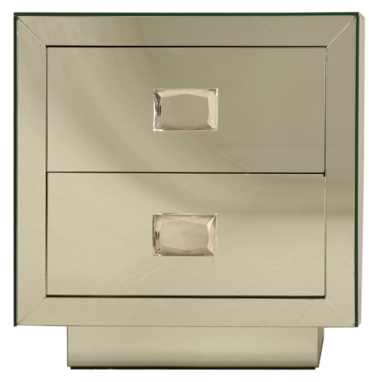 Mirrored mode Nightstand with Crystal Knobs For Sale at 1stdibs