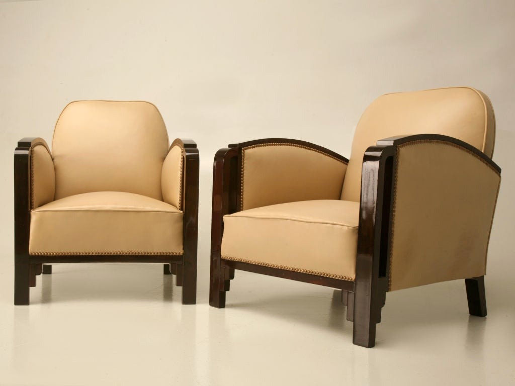 Outrageous pair of art deco leather club chairs at for Art deco furniture chicago