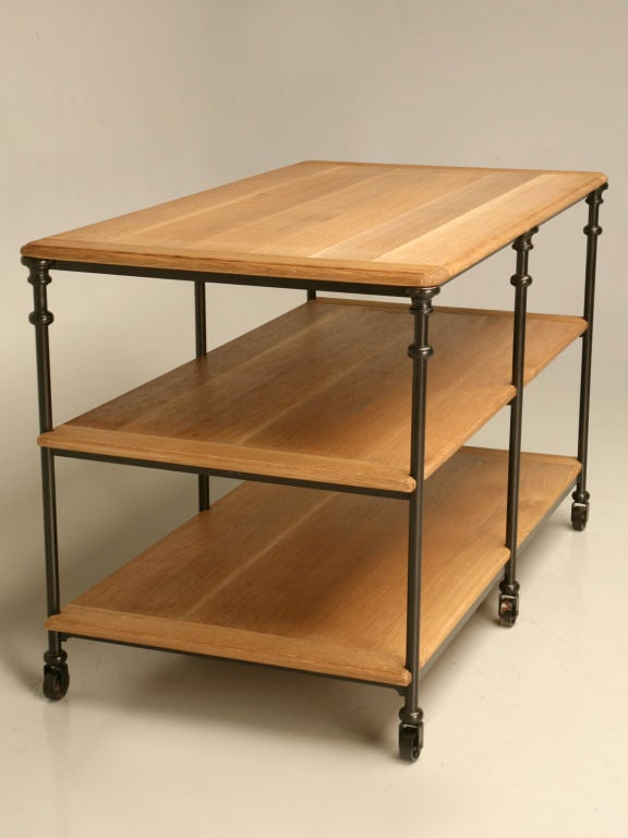 Custom Steel Work Table or Kitchen Island For Sale at 1stdibs