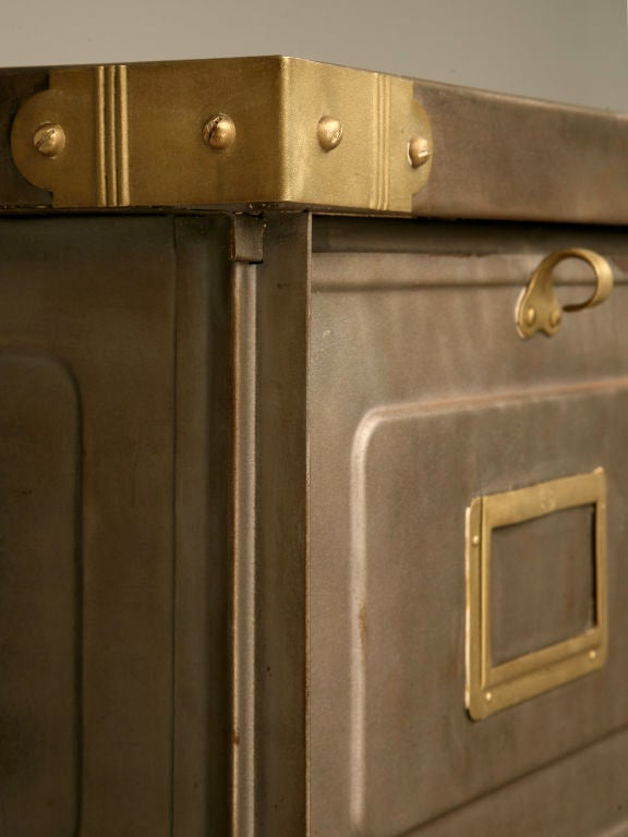 Mid-20th Century c.1940 French Steel Industrial Bins/Cartonnier with Brass Trim For Sale