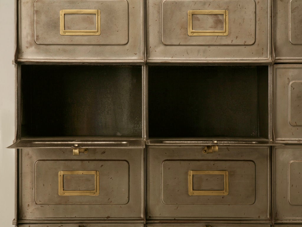 c.1940 French Steel Industrial Bins/Cartonnier with Brass Trim For Sale 4