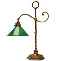 Vintage American Brass Desk or Banker's Lamp w/Cased Glass Shade