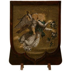 c.1870 Victorian Hand-Beaded Cheval Fire Screen