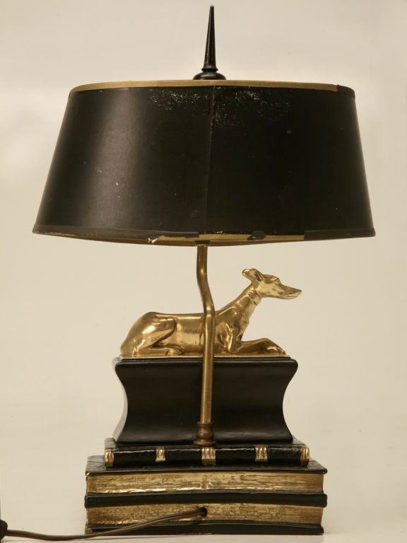 Vintage Chapman Desk Lamp W Solid Brass Whippet Dog At 1stdibs