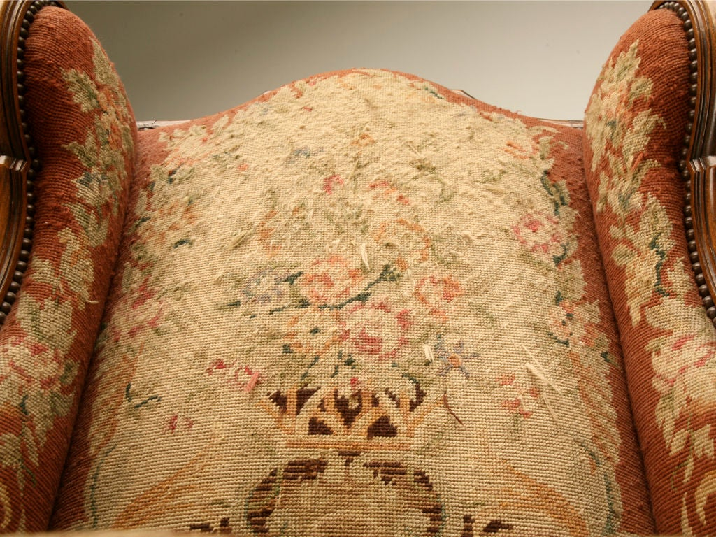 20th Century c.1900 French Needlepoint Louis XV Wing-Back Chair For Sale