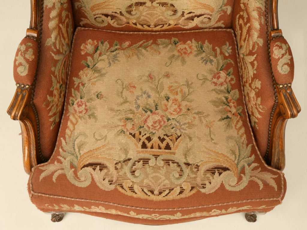 c.1900 French Needlepoint Louis XV Wing-Back Chair For Sale 1