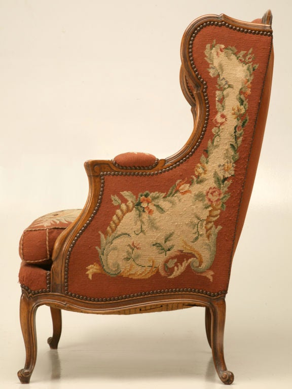 c.1900 French Needlepoint Louis XV Wing-Back Chair For Sale 2