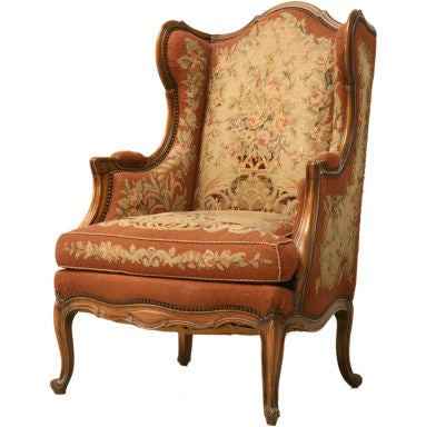 c.1900 French Needlepoint Louis XV Wing-Back Chair