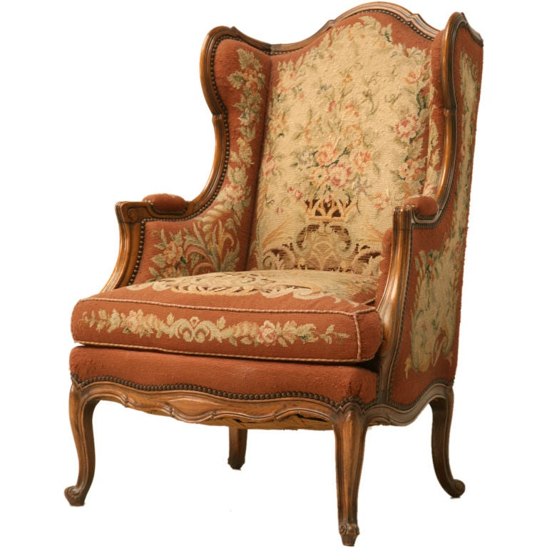 C 1900 French Needlepoint Louis Xv Wing Back Chair At 1stdibs
