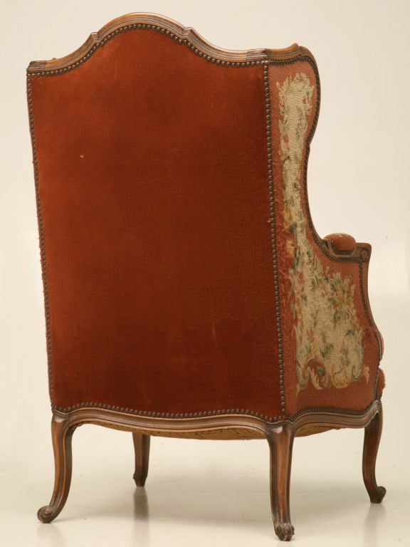 c.1900 French Needlepoint Louis XV Wing-Back Chair For Sale 7