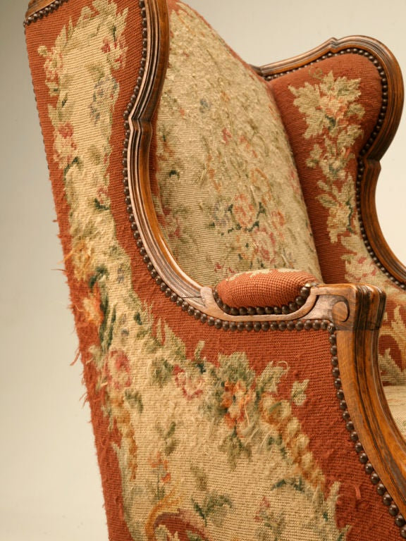 c.1900 French Needlepoint Louis XV Wing-Back Chair For Sale 4