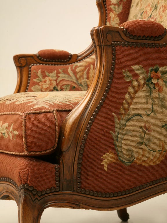 c.1900 French Needlepoint Louis XV Wing-Back Chair For Sale 5